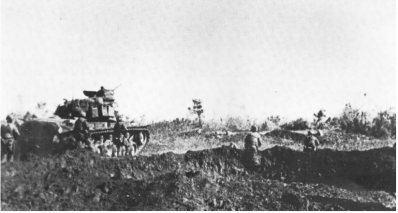 Buffalo marines of 3rd 9th moving behind tanks near con thien on 4 july